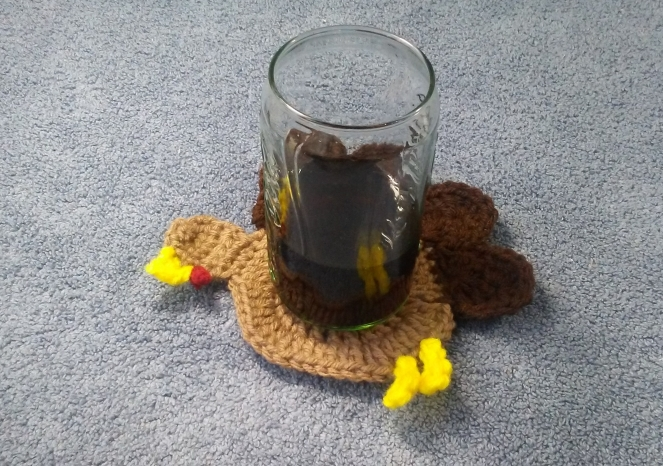 How to crochet a Thanksgiving Turkey coaster! Link: https://craftingqueen03.com/2018/10/31/how-to-crochet-a-thanksgiving-turkey-tutorial