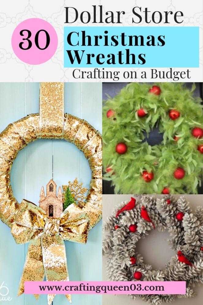 Dollar Store Christmas Wreaths