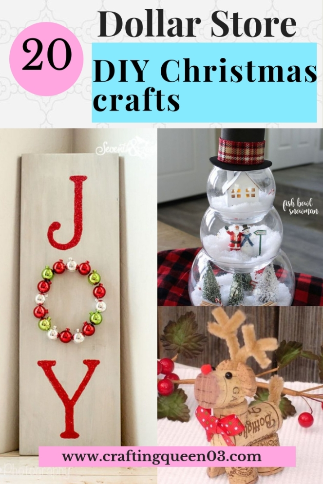 dollar store christmas crafts Link: https://craftingqueen03.com/2018/11/05/20-dollar-store-diy-christmas-crafts
